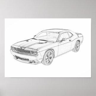 Poster Challengeur noir et blanc de Dodge