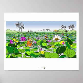 Poster Champ de Lotus et affiche colorée de récolteuses