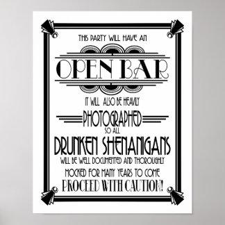 Poster Changement de couleur blanc de la barre ouverte
