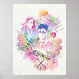 Poster Charme | Harry, Hermione, et Ron Waterc de Harry