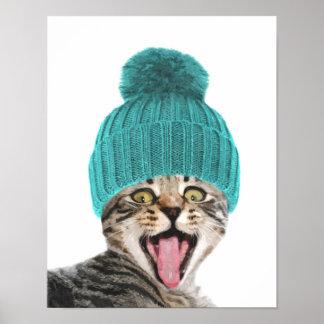 Poster Chat avec le portrait animal mignon de casquette