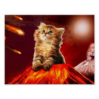 Poster chat de volcan, chat vulcan,