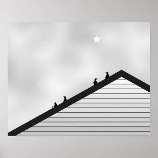Poster Chat et pingouins sur le dessus de toit
