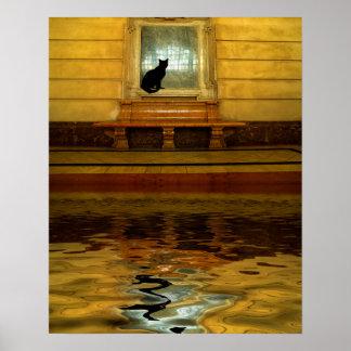 Poster Chat noir en surface