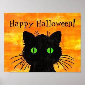 Poster Chat noir semi-transparent sur l'orange de