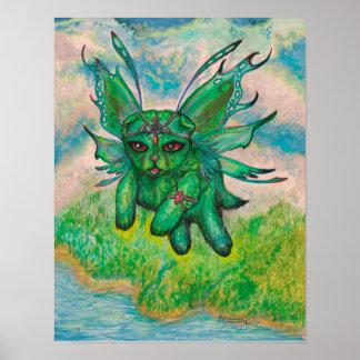 Poster Chat vert à ailes