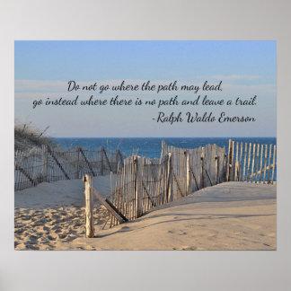 Poster Chemin à la plage avec la citation
