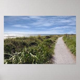 Poster chemin côtier de falaise de gravier