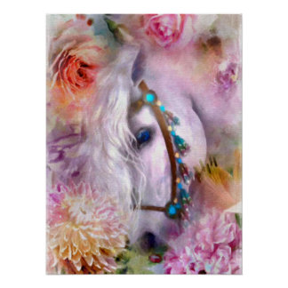 Poster Cheval blanc romantique parmi les fleurs