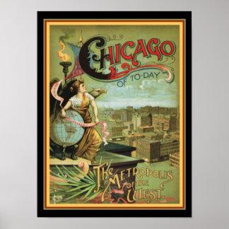 """Poster Chicago 1893 """"métropole"""" des 12 x des 16"""