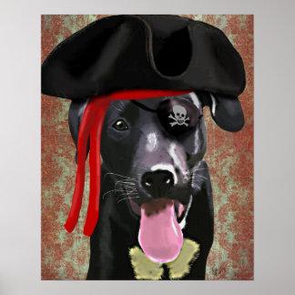 Poster Chien noir de pirate de Labrador