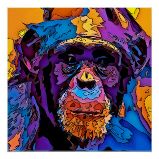 Poster Chimpanzé de mosaïque