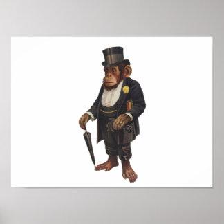 Poster Chimpanzé drôle - rétro singe - monkey le