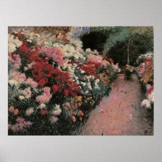 Poster Chrysanthèmes par la soute, impressionisme vintage