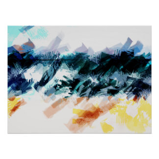 Poster Ciel abstrait, mer et sable