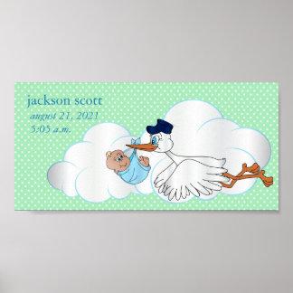 Poster Cigogne de bébé