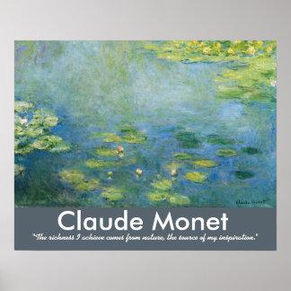 Poster Citation d'artiste de nénuphars de Claude Monet