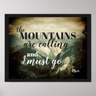 Poster citation de John Muir d'affiche que les montagnes