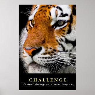 Poster Citation de motivation de défi de visage de tigre