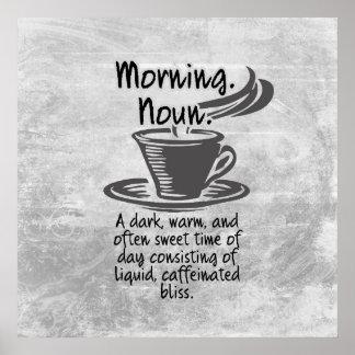Poster Citation drôle de matin d'amants mignons de café