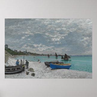 Poster Claude Monet - la plage chez Sainte-Adresse