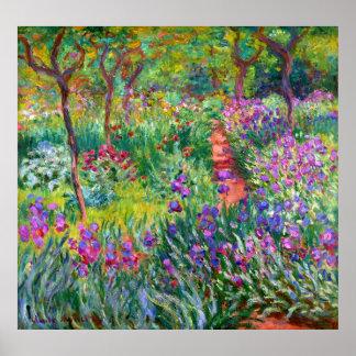 Poster Claude Monet : Le jardin d'iris chez Giverny