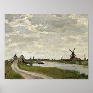 Poster Claude Monet - les moulins à vent s'approchent de