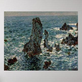Poster Claude Monet   les roches au Belle-Ile, 1886