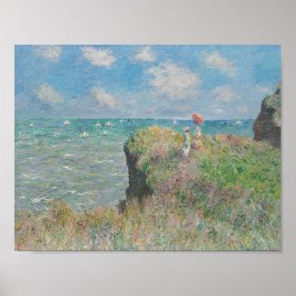 Poster Claude Monet - promenade de falaise chez Pourville