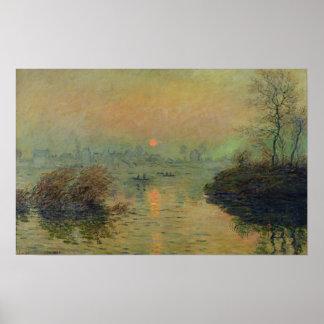 Poster Claude Monet | Sun plaçant au-dessus de la Seine
