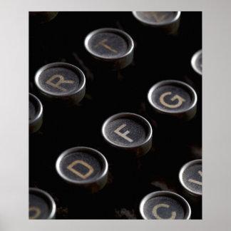 Poster Clés antiques de machine à écrire