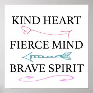 Poster Coeur aimable, esprit féroce, art courageux de mur
