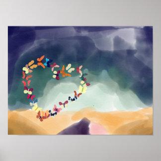 Poster Coeur des papillons