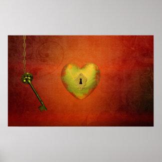Poster Coeur d'or avec la clé - affiche