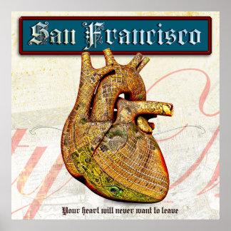 Poster Coeur vintage à San Francisco