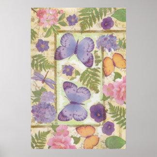 Poster Collage de papillon avec les fleurs et la