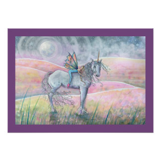 Poster Collines de licorne d'enchantement et d'art
