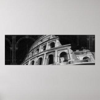Poster Colosseum romain avec les dessins architecturaux