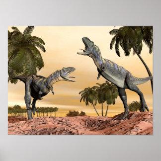 Poster Combat de dinosaures d'Aucasaurus - 3D rendent
