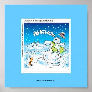 Poster Combats givrés l'affiche drôle de Noël de grippe