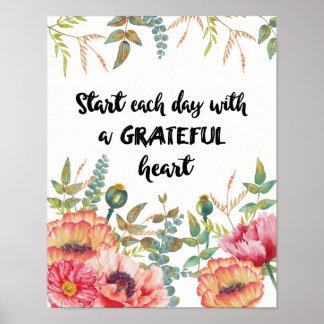 Poster Commencez chaque jour avec un coeur reconnaissant