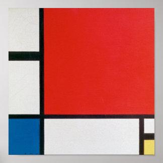 Poster Composition II en rouge, bleu, et le jaune -