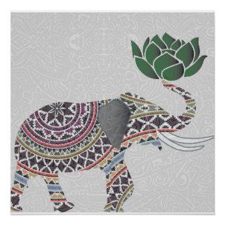 Poster Conception de Bohème indienne d'affiche d'éléphant