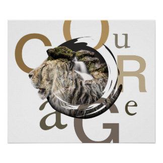 Poster Conception inspirée de courage de lion et de