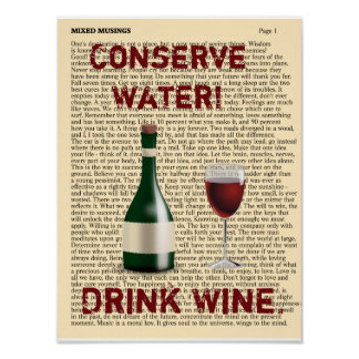 Poster Conservez l'eau ! Buvez du vin. - Art