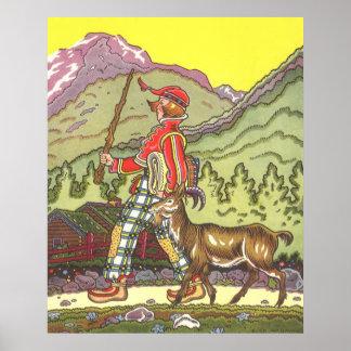Poster Conte de fées vintage, garçon et le vent du nord,