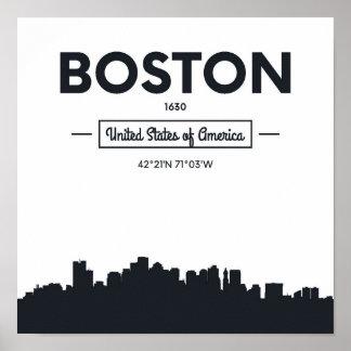 Poster Coordonnées de ville de Boston, le Massachusetts |