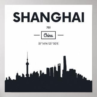 Poster Coordonnées de ville de Changhaï, Chine |