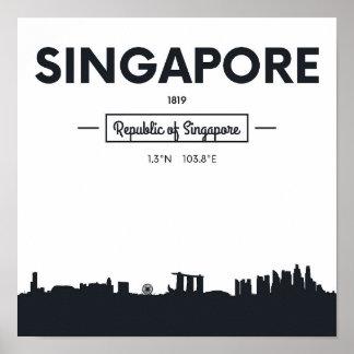 Poster Coordonnées de ville de Singapour, Chine |