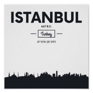 Poster Coordonnées de ville d'Istanbul, Turquie |